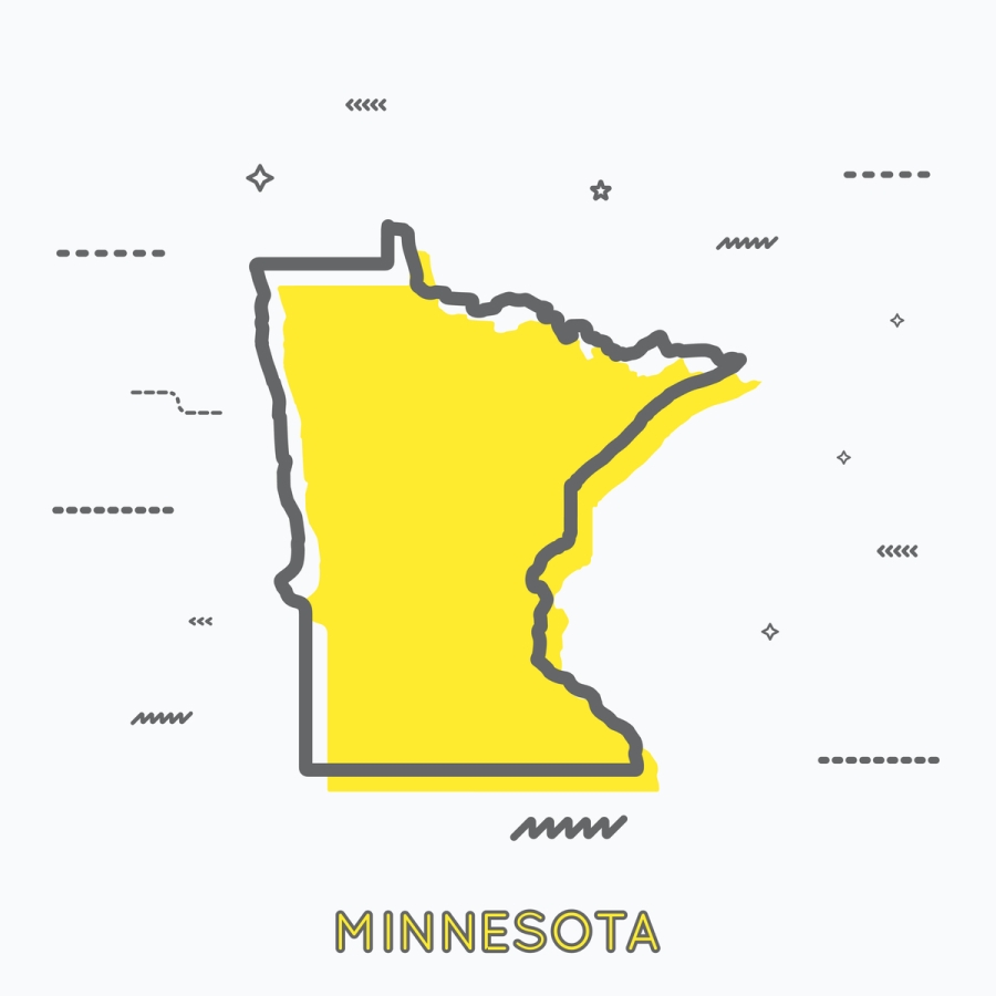 A Yellow Outline of Minnesota