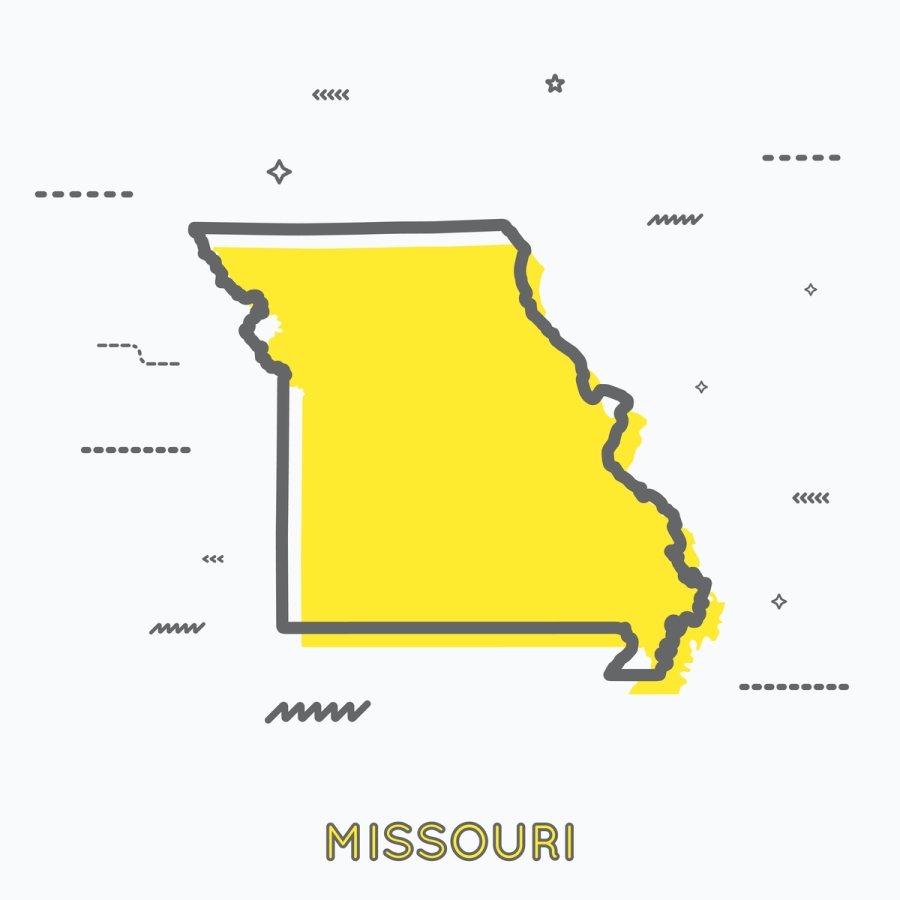 A Yellow Outline of Missouri