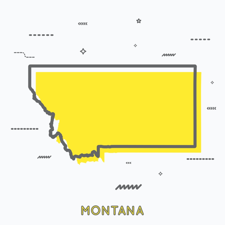 A Yellow Outline of Montana