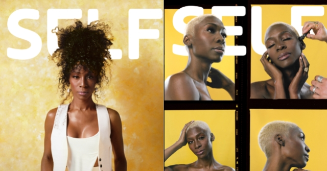 Angelica Ross on the cover of Self Magazine. She's against a gold background, in various hairstyles.