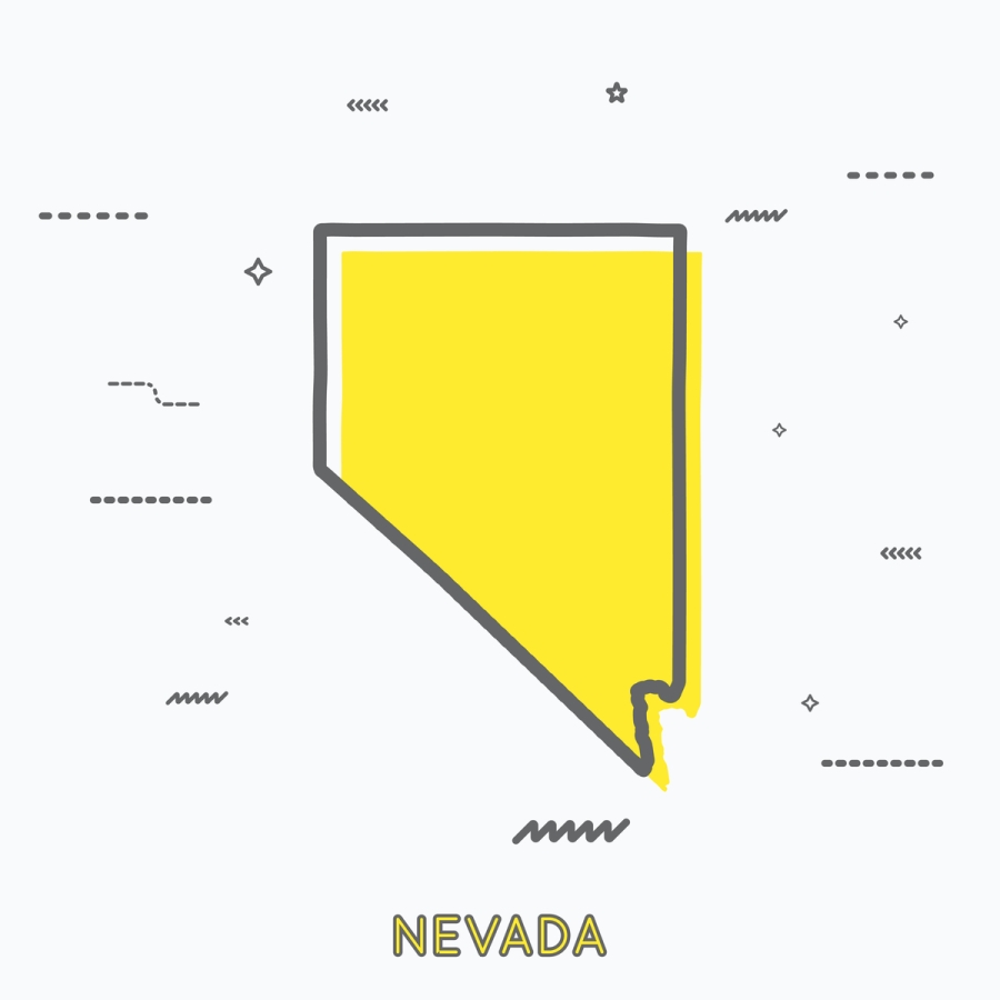 A Yellow Outline of Nevada