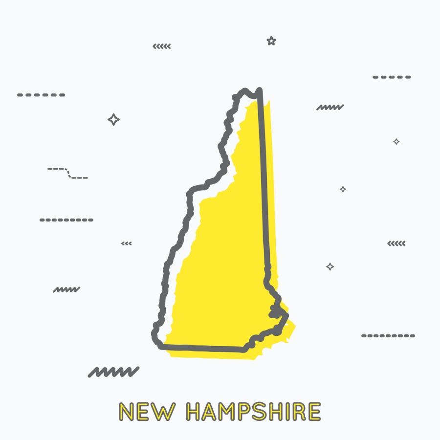 A Yellow Outline of New Hampshire