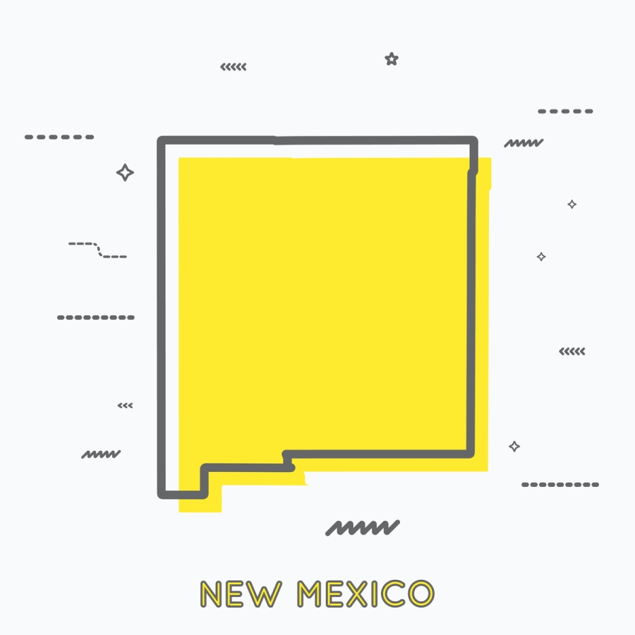 A Yellow Outline of New Mexico