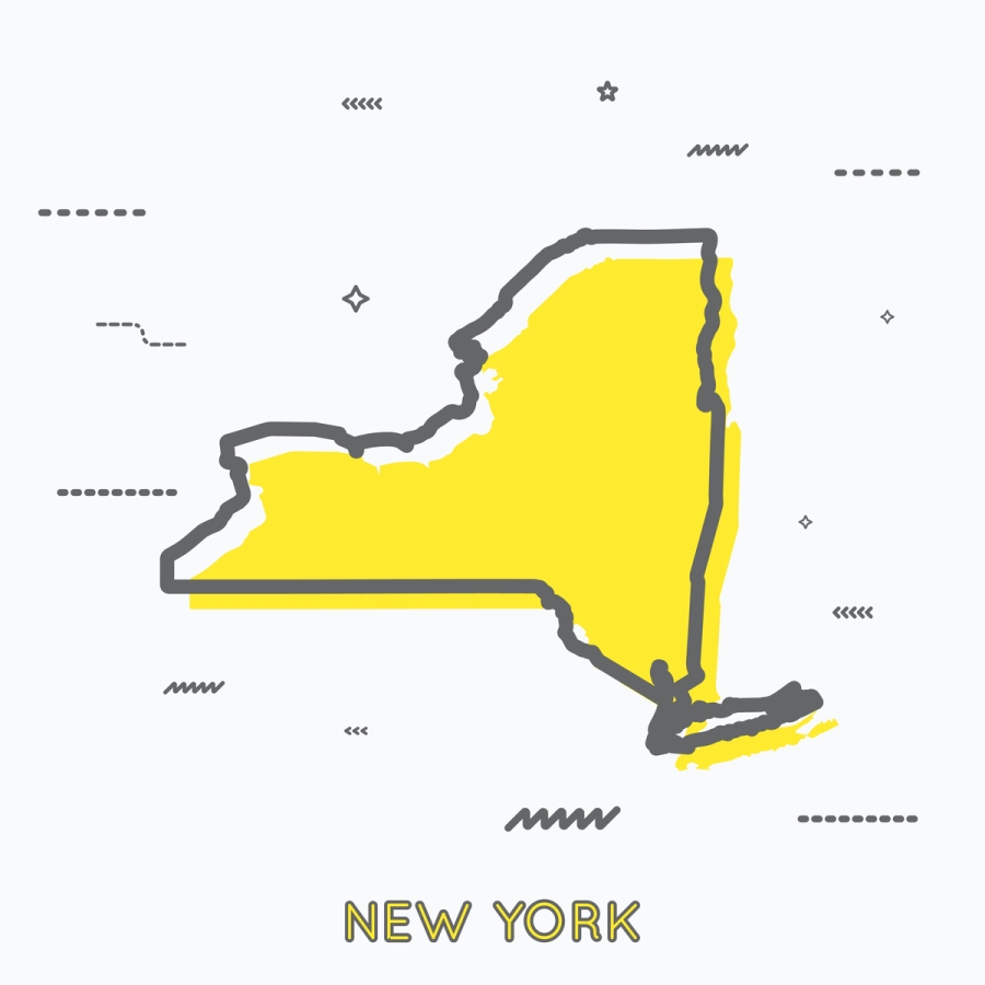 A Yellow Outline of New York