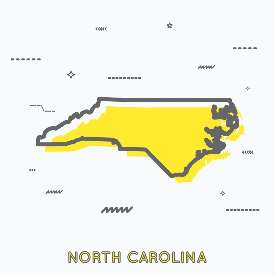 A Yellow Outline of North Carolina