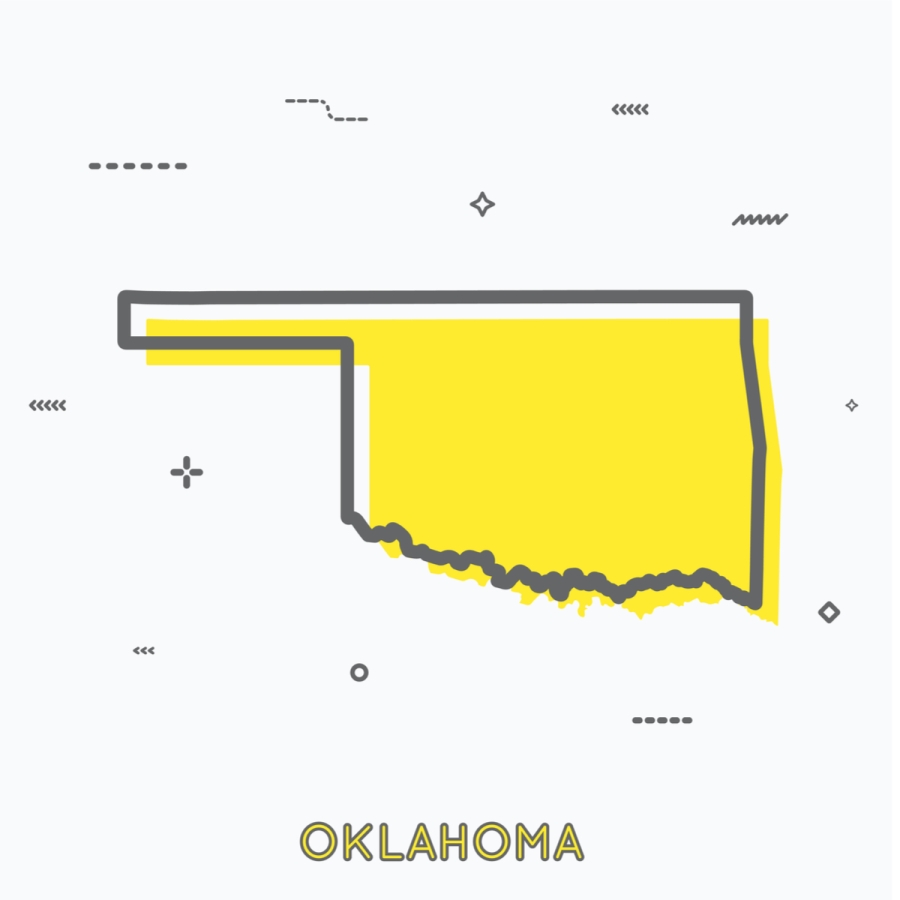 A Yellow Outline of Oklahoma