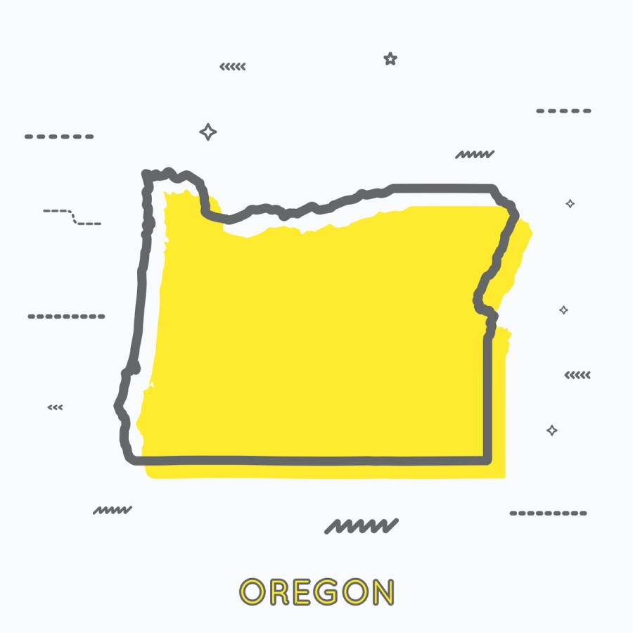 A Yellow Outline of Oregon