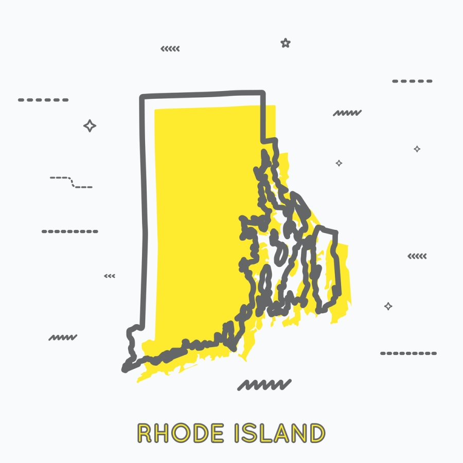 A Yellow Outline of Rhode Island