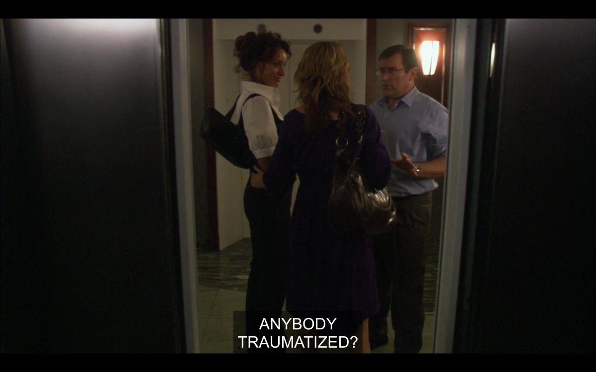 "Dan Foxworthy greeting Bette and Tina on the other side of the elevator, saying ""anybody traumatized?"""