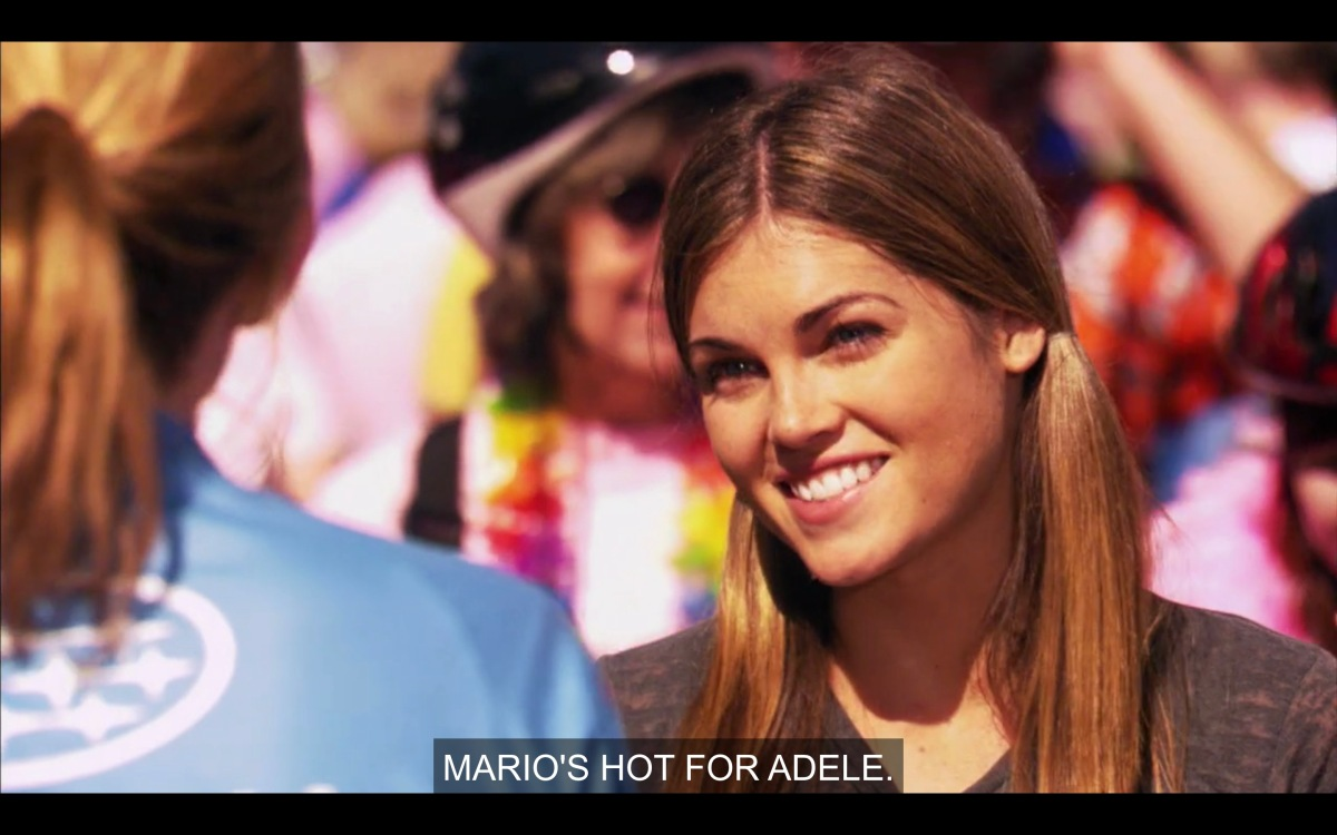 "Niki, in pigtails, says ""Mario's hot for Adele"""