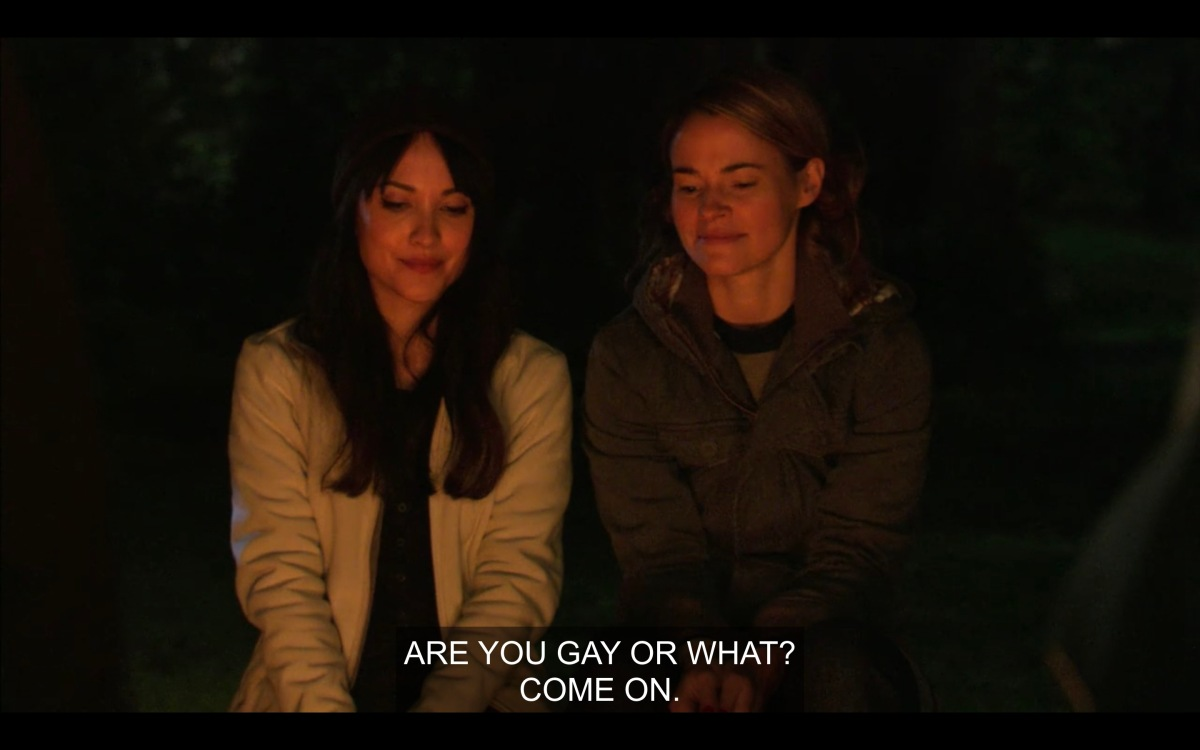 "Alice and Adele at campfire, Alice asking Adele if she is ""gay or what"""