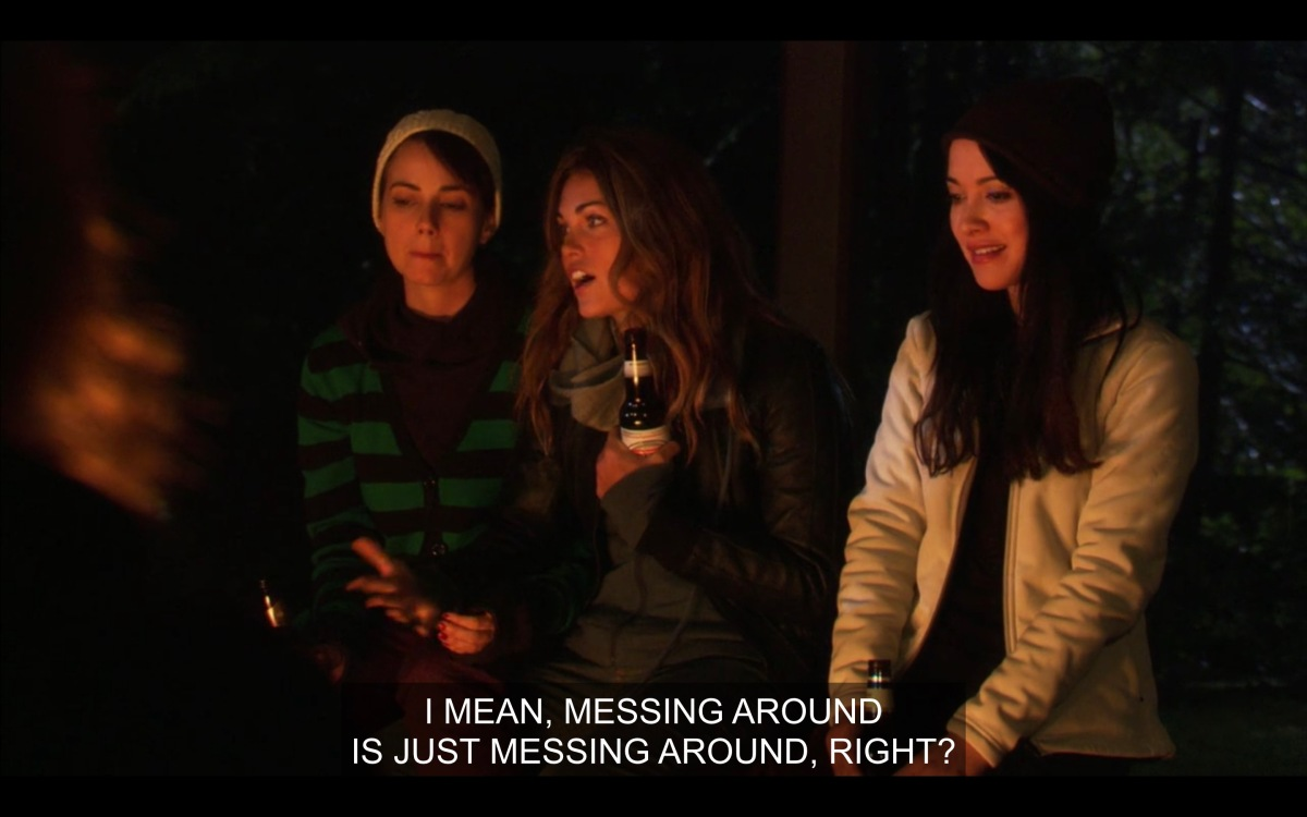 Jenny, Niki and Adele at the campfire debating what cheating is