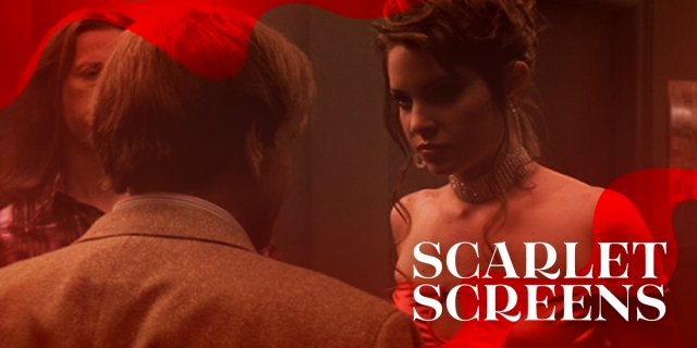 Tracee of the Sopranos, wearing a fancy updo and red evening gown, stares down Ralph, who we only see from behind. The image has a red cast and is given a red ribboned border, with the text SCARLET SCREENS in the lower righthand corner.