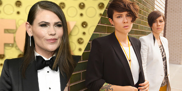A two-fold collage with Clea DuVall in a tuxedo on one side and Tegan and Sara in matching suits on the other.