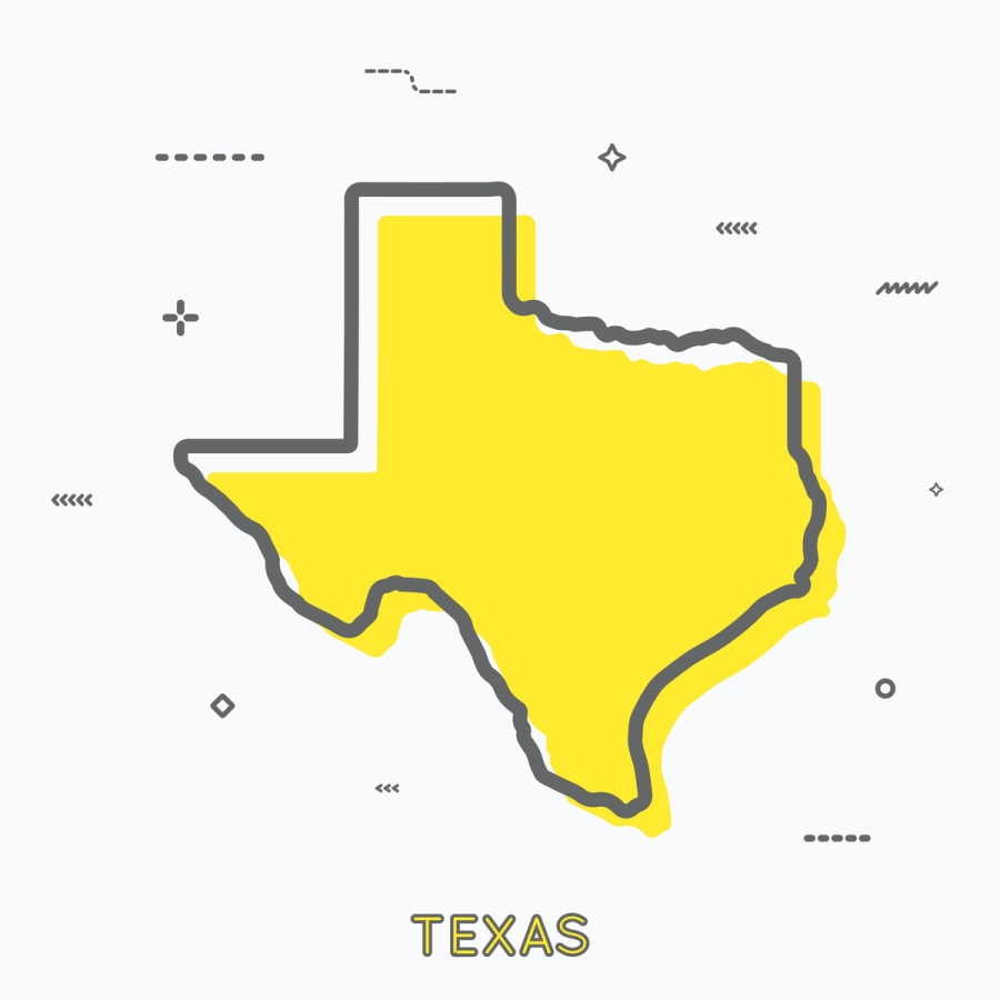 A Yellow Outline of Texas