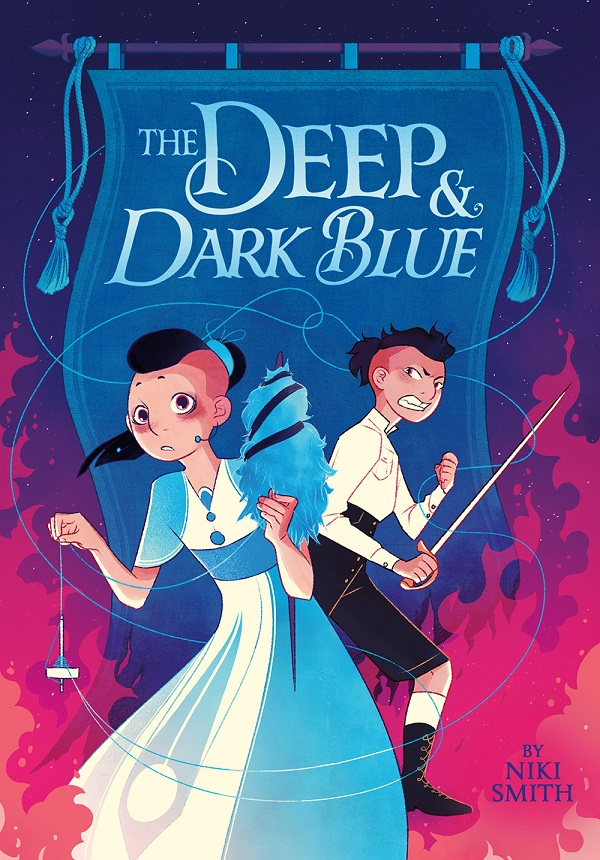 The cover for The Deep & Dark Blue features two stylized illustrated figures in the foreground, one in a dress holding a pendant and a dress figure, and one in the background wearing a shirt and pants and grimacing holding a sword.