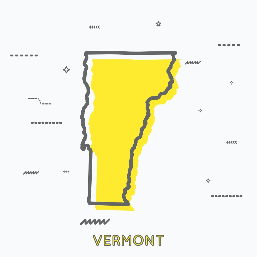 A Yellow Outline of Vermont