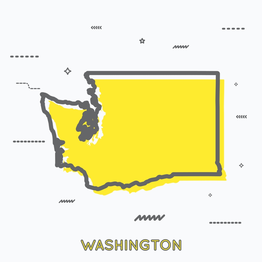 A Yellow Outline of Washington State