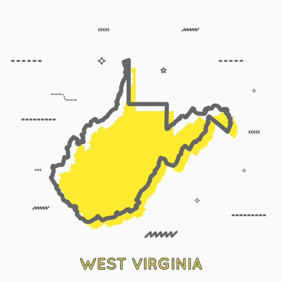 A Yellow Outline of West Virginia