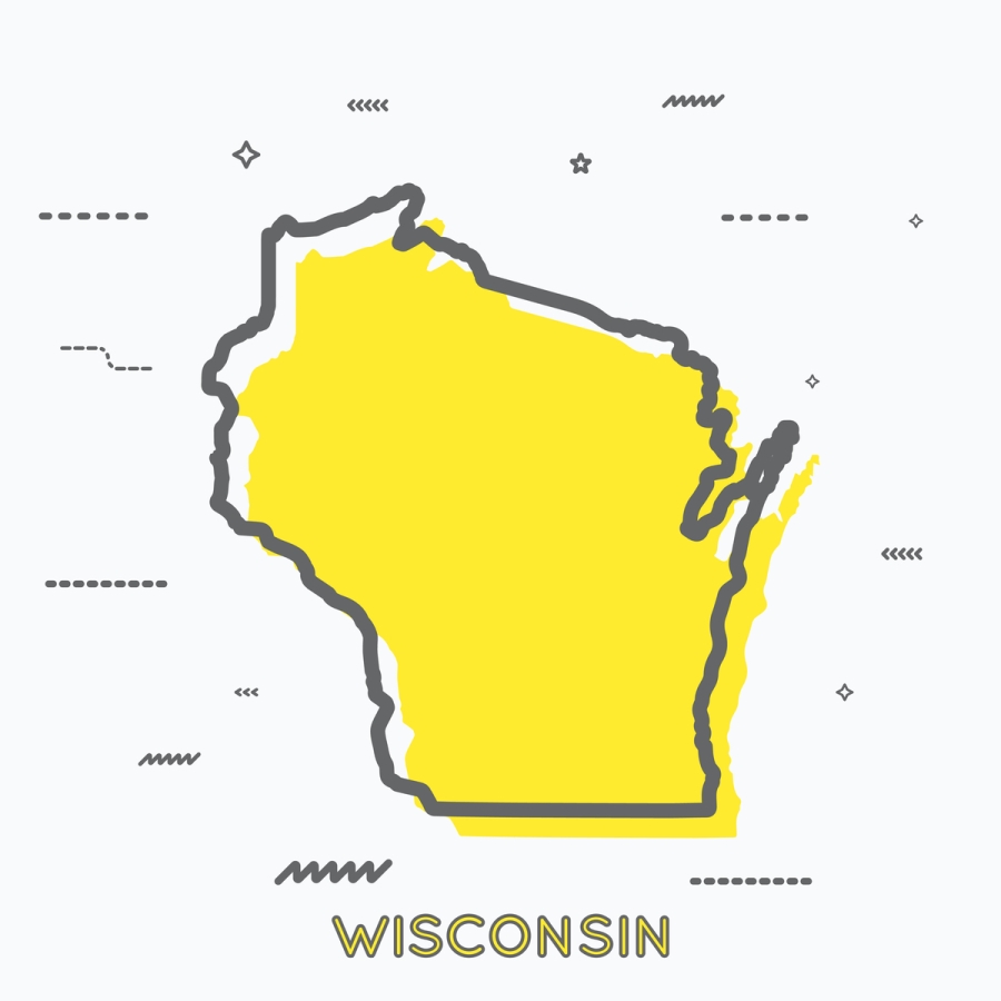 A Yellow Outline of Wisconsin