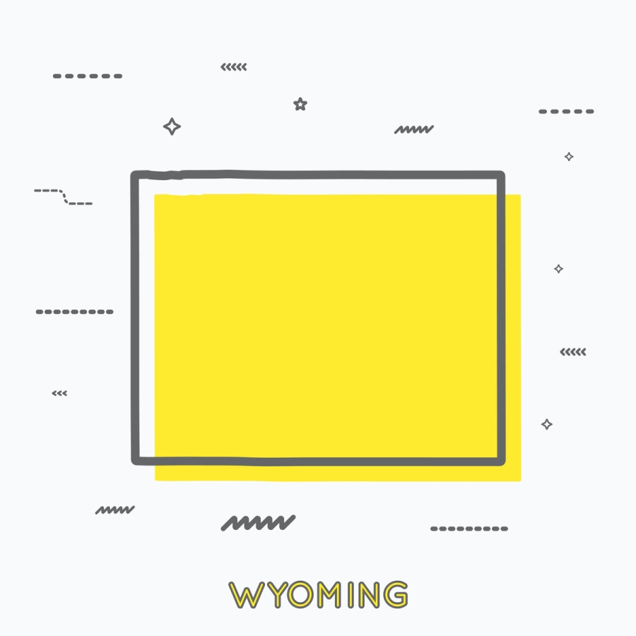 A Yellow Outline of Wyoming
