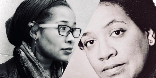 A black-and-white two fold collage. On the left is a close up photo of Jehan, the writer. On the right is a similarly close up photo of Audre Lorde.
