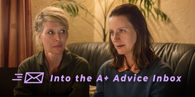 "Sally and Emma from Sally4Ever are sitting on a couch receiving therapy. The text reads ""Into the A+ Advice Box"""