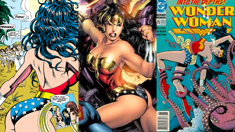 "A collage of images of Wonder Woman in the ""broke back"" pose."