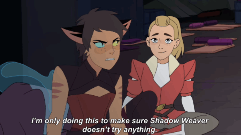 "Catra from She-Ra and the Princesses of Power scowls ""I'm only doing this to make sure Shadow Weaver doesn't try anything"","