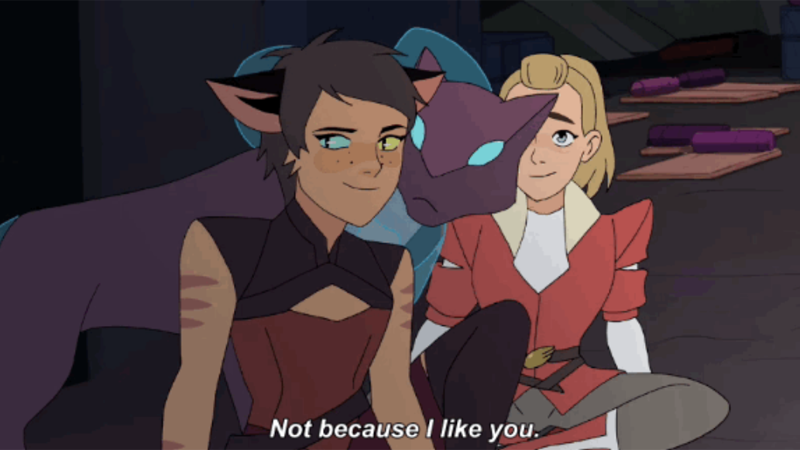 "Catra from She-Ra and the Princesses of Power smiling ""Not because I like you."""