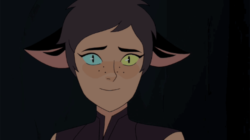 Catra from She-Ra and the Princesses of Power smiling with a dreamy look in her eyes.