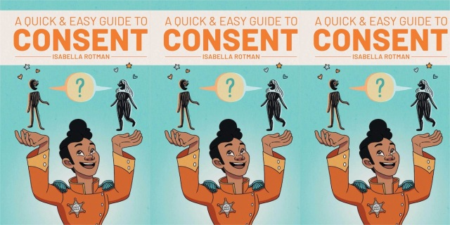 Three repeating images of the cover of A Quick and Easy Guide to Consent