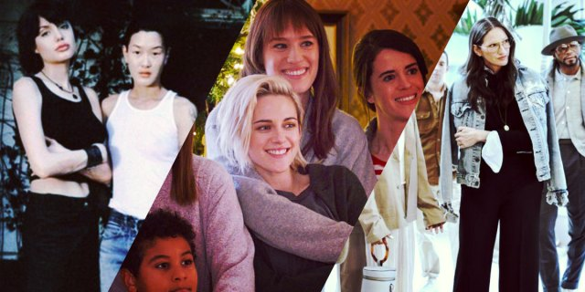 3-image feature: young Angelina Jolie + Jenny Shimizu in Foxfire, Kristen Stewart in 'The Happiest Season' and Jenna Lyons in her new reality show
