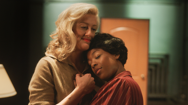 "Lorraine Hansburry and her girlfriend hold each other in a still from ""Equal"""