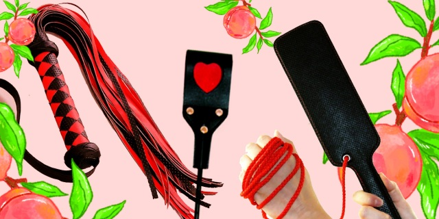 A collage of a red-and-black flogger, a black crop featuring a red heart, and a black faux leather paddle against a pink background surrounded by illustrated peaches