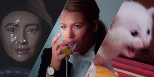 Emily from Pretty Little Liars, Blake Lively in A Simple Favor, and a yelling cat