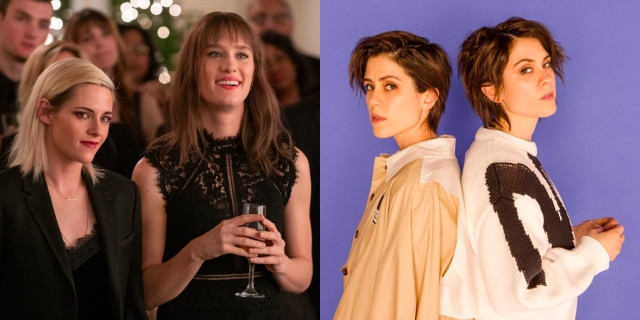 A collage of two images: 1) Kristen Stewart and McKenzie Davis standing together smiling in Happiest Season. 2) Tegan and Sara back-to-back.