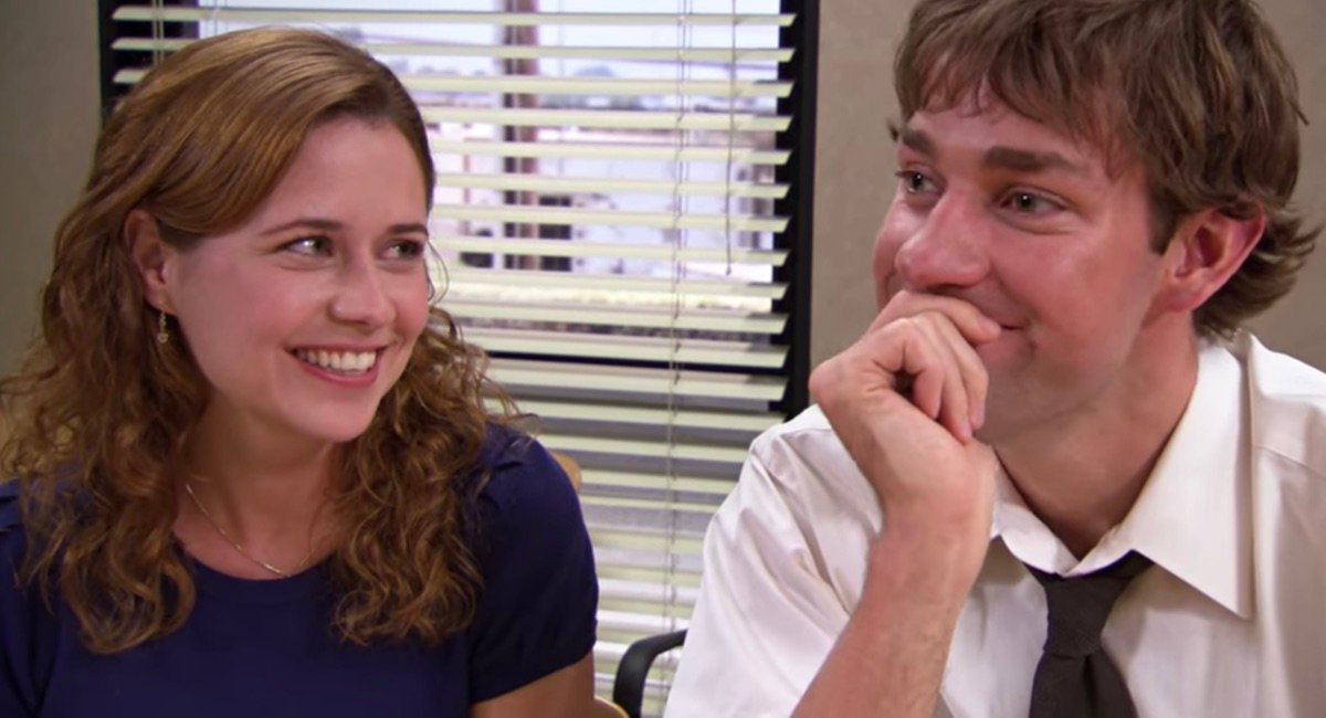 """pam smiles at jim in """"the office"""""""