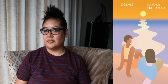 headshot of kamala puligandla sitting in an arm chair with an inviting but stern look on her face. she wears glasses and has a mohawk and is wearing a maroon t shirt. her image is beside the cover of her novel, Zigzags. the cover is a graphic that features two queer women lounging beside Lake Michigan as the sun sets into the purple water.