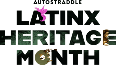 Autostraddle Latinx Heritage Month Header. Letterforms are adorned by a small pink daffodil, a sideways gold shard crown and a shattered gold shards.