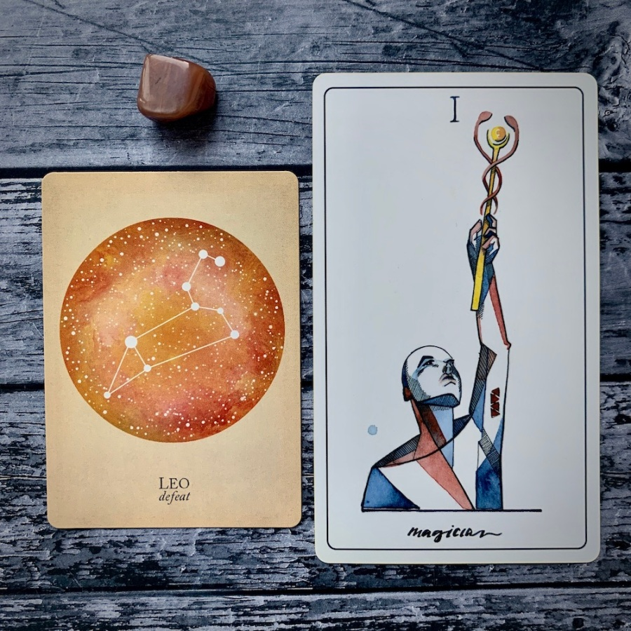the Leo card from the Constellations deck and the Magician card