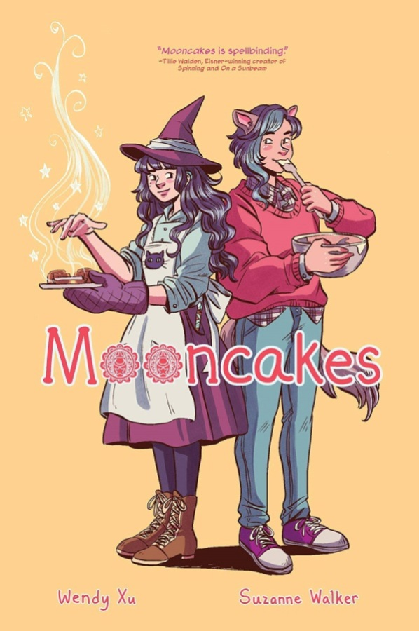 Cover image for MOONCAKES, featuring two figues, one with long hair wearing a witch hat and outfit and holding a steaming plate of treats, and one with cat ears and wearing a sweatshirt and jeans licking a baking bowl