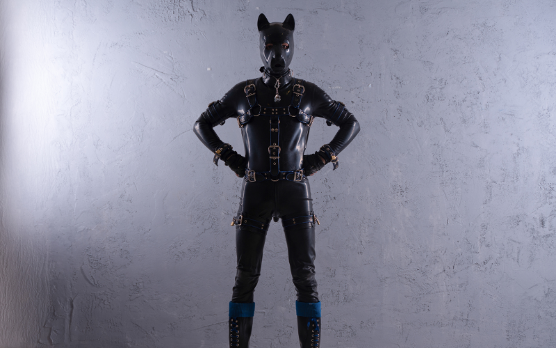 A person in a leather and rubber puppy suit stands with hands on their hips.