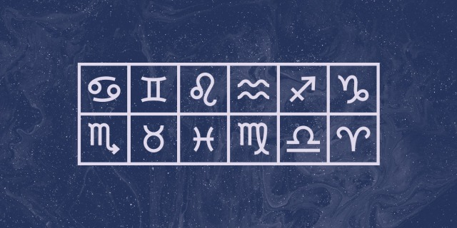 A stylized graphic featuring a grid of the 12 astrological signs in a light lavender against a swirled muted navy blue background.