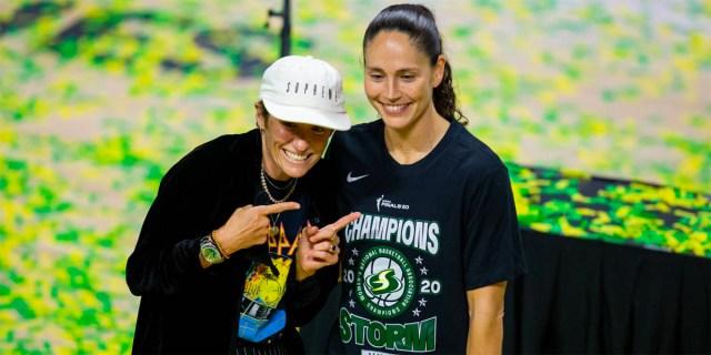 Sue Bird and Megan Rapinoe celebrate the Seattle Storm's 2020 WNBA Championship.