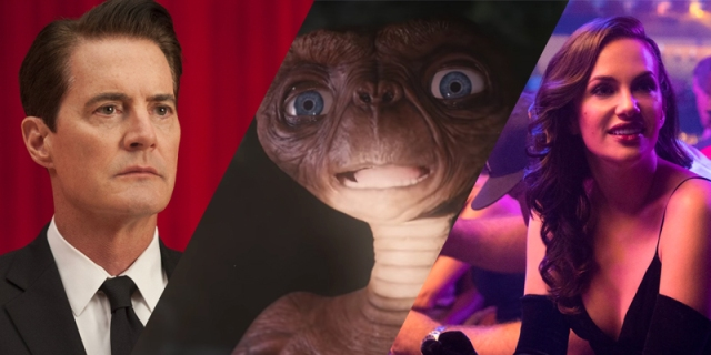 A collage of Twin Peaks, E.T., and The Haunting of Hill House