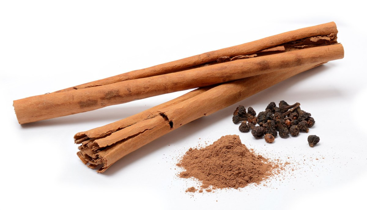 two sticks of cinnamon with a small mound of cinnamon powder