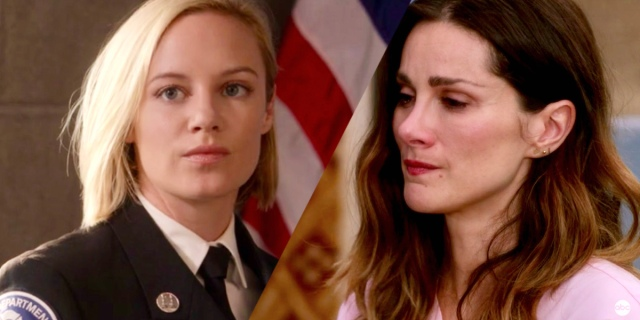 A two-fold collage of Maya Bishop on Station 19 and Carina Deluca on Grey's Anatomy