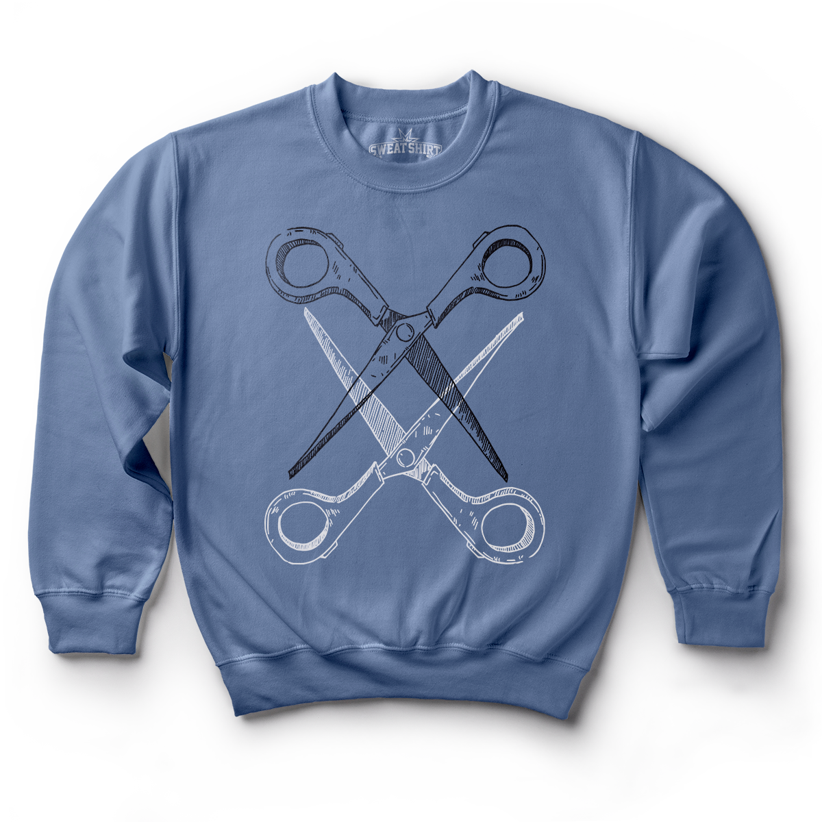 Blue sweatshirt with black and white scissoring graphic by Rory Midhani