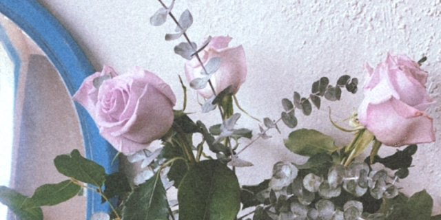 A soft photo of pink roses in a bouquet. The filter is styled to look like an old school film photo.